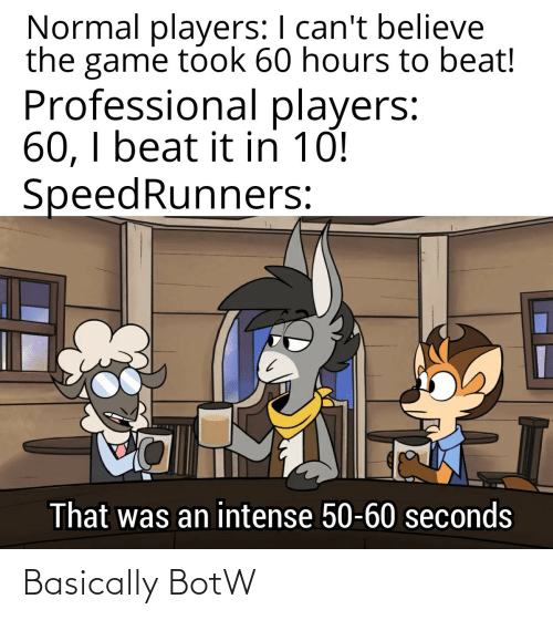 normal: Normal players: I can't believe  the game took 60 hours to beat!  Professional players:  60, I beat it in 10!  SpeedRunners:  That was an intense 50-60 seconds Basically BotW