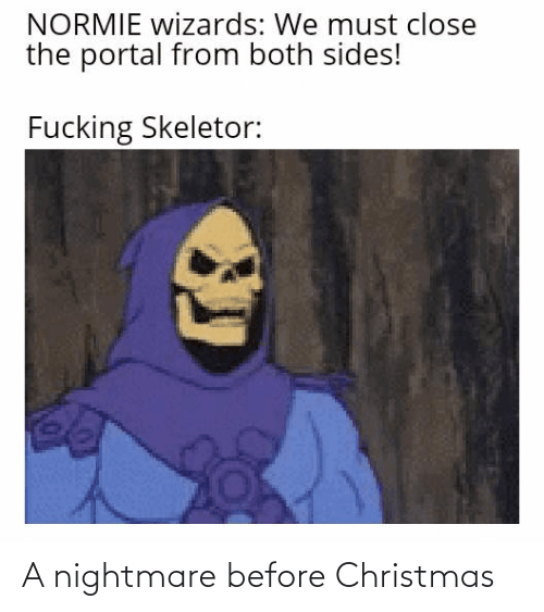 skeletor: NORMIE wizards: We must close  the portal from both sides!  Fucking Skeletor: A nightmare before Christmas