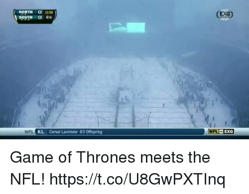 Football, Game of Thrones, and Nfl: NORTH 1259  SOUTH O 4TH  EXG  WFL KL Cersei Lannister 0/3 Offspring  WFL EXG Game of Thrones meets the NFL! https://t.co/U8GwPXTInq