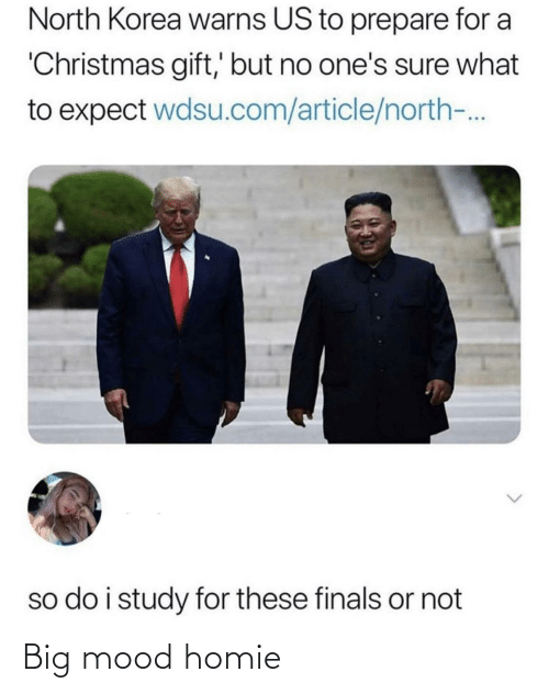 article: North Korea warns US to prepare for a  'Christmas gift,' but no one's sure what  to expect wdsu.com/article/north-.  so do i study for these finals or not Big mood homie