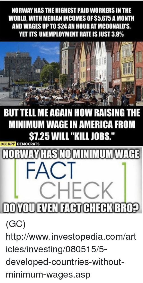 """median: NORWAY HAS THE HIGHEST PAID WORKERSIN THE  WORLD, WITH MEDIAN INCOMES OF $5,675 AMONTH  AND WAGES UP TO$24 AN HOUR ATMCDONALD'S.  YETITS UNEMPLOYMENT RATEIS JUST 3.9%  BUT TELL MEAGAIN How RAISING THE  MINIMUMWAGE IN AMERICA FROM  $7.25 WILL""""KILL JOBS.""""  OCCUPY  DEMOCRATS  NORWAY HAS NO MINIMUM WAGE  FACT  CHECK  DOYOUEMEN FACTCHECKBRO? (GC) http://www.investopedia.com/articles/investing/080515/5-developed-countries-without-minimum-wages.asp"""