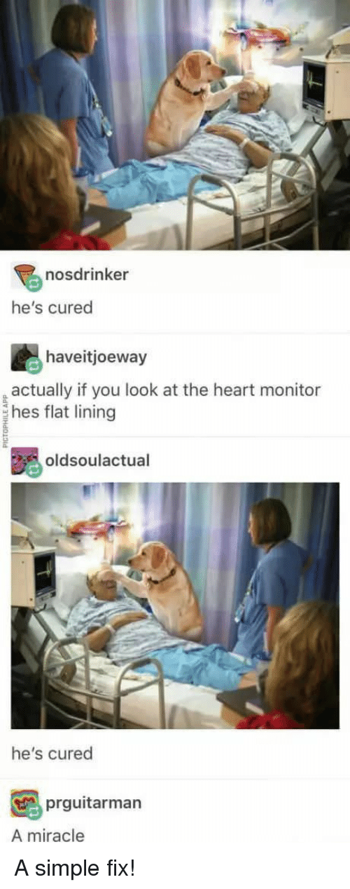 Heart, Simple, and You: nosdrinker  he's cured  haveitjoeway  actually if you look at the heart monitor  hes flat lining  oldsoulactual  he's cured  prguitarman  A miracle <p>A simple fix!</p>