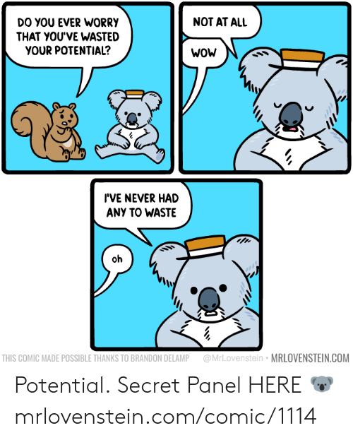 Memes, Wow, and Never: NOT AT ALL  DO YOU EVER WORRY  THAT YOU'VE WASTED  YOUR POTENTIAL?  WOW  I'VE NEVER HAD  ANY TO WASTE  oh  @MrLovenstein MRLOVENSTEIN.COM  THIS COMIC MADE POSSIBLE THANKS TO BRANDON DELAMP Potential.  Secret Panel HERE 🐨 mrlovenstein.com/comic/1114