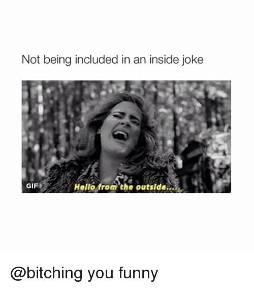 Insider Joke: Not being included in an inside joke  Hello from the outside  GIF @bitching you funny