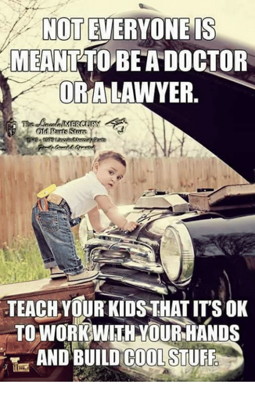 Doctor, Lawyer, and Memes: NOT EVERYONE IS  MEANT TO BEA DOCTOR  ORA LAWYER.  TEACH YOUR KIDSTHAT IT'S OK  TO WORKWITH YOUR HANDS  AND BUILD COOLSTUFF