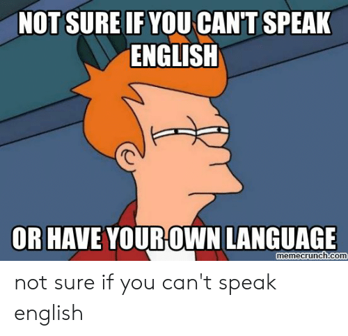 Speak English Meme: NOT SURE IF YOU CAN'T SPEAK  ENGLISH  OR HAVE YOUROWN LANGUAGE  memecrunch.com not sure if you can't speak english