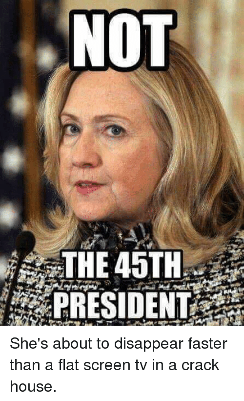 flat screen: NOT  THE 45TH  PRESIDENT She's about to disappear faster than a flat screen tv in a crack house.