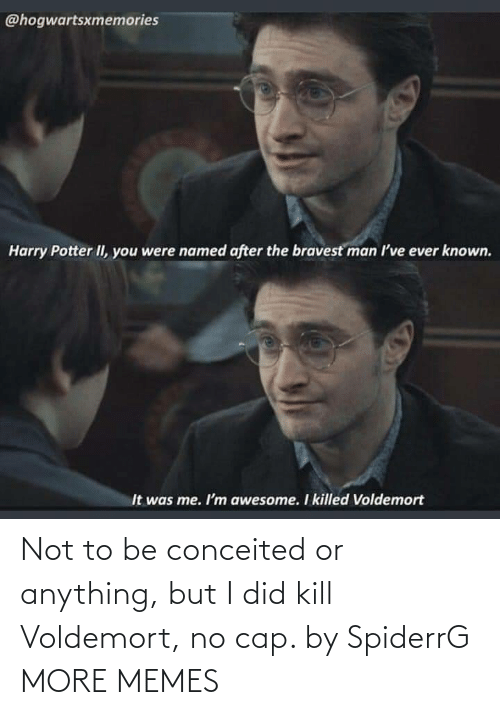cap: Not to be conceited or anything, but I did kill Voldemort, no cap. by SpiderrG MORE MEMES