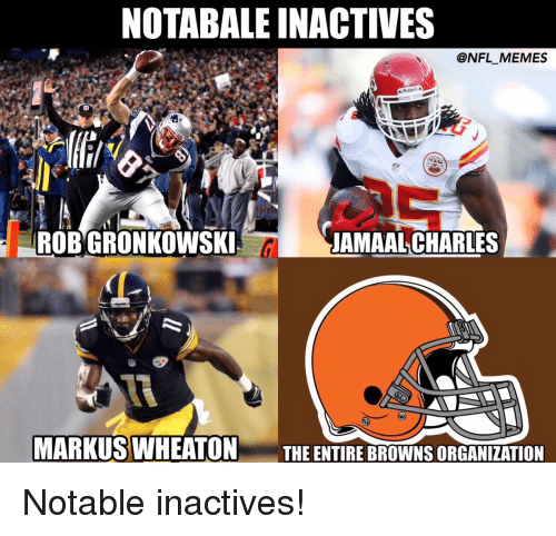 Notability: NOTABALEINACTIVES  @NFL MEMES  e Riddell a  -IROBWGRONKOWSKIS  JAMAAL CHARLES  CL  MARKUS WHEATON  THE ENTIRE BROWNS ORGANIZATION Notable inactives!