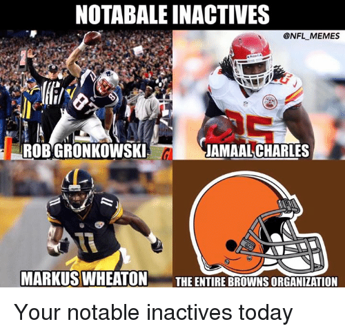 Notability: NOTABALEINACTIVES  @NFL MEMES  ROBGRONKOWSKI  JAMAAL CHARLES  CL  MARKUS WHEATON  THE ENTIRE BROWNSORGANIZATION Your notable inactives today