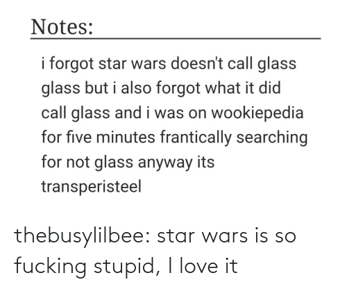 anyway: Notes:  i forgot star wars doesn't call glass  glass but i also forgot what it did  call glass and i was on wookiepedia  for five minutes frantically searching  for not glass anyway its  transperisteel thebusylilbee:  star wars is so fucking stupid, I love it