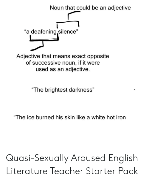 "Starter Packs, Teacher, and White: Noun that could be an adjective  ""a deafening silence""  Adjective that means exact opposite  of successive noun, if it were  used as an adjective  ""The brightest darkness""  ""The ice burned his skin like a white hot iron Quasi-Sexually Aroused English Literature Teacher Starter Pack"