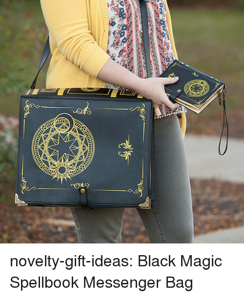 Tumblr, Black, and Blog: novelty-gift-ideas:  Black Magic Spellbook Messenger Bag