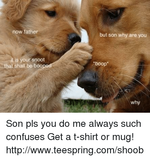 """Boo, Confused, and Dank: now father  itis your snoot  that shall be boo  but son why are you  """"boop  why Son pls you do me always such confuses  Get a t-shirt or mug! http://www.teespring.com/shoob"""