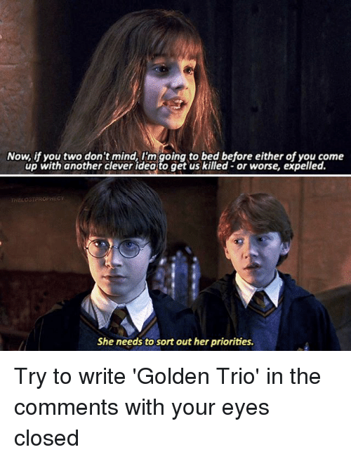 Cleverity: Now, if you two don't mind, I'm going to bed before either of you come  up with another clever idea to get us killed- or worse, expelled.  HELOSTPROPHEC  She needs to sort out her priorities. Try to write 'Golden Trio' in the comments with your eyes closed △⃒⃘