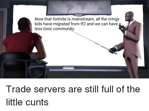 tf2: Now that fortnite is mainstream, all the cringy  kids have migrated from tf2 and we can have  less toxic community Trade servers are still full of the little cunts