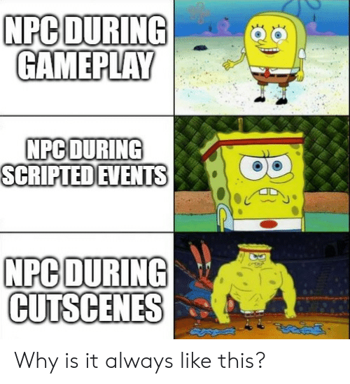 npc: NPC DURING  GAMEPLAY  NPC DURING  SCRIPTED EVENTS  NPC DURING  CUTSCENES Why is it always like this?