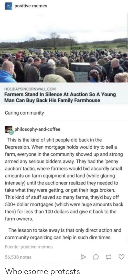 farms: npositive-memes  HOLIDAYSINCORNWALL.COM  Farmers Stand In Silence At Auction So A Young  Man Can Buy Back His Family Farmhouse  Caring community  philosophy-and-coffee  This is the kind of shit people did back in the  Depression. When mortgage holds would try to sell a  farm, everyone in the community showed up and strong  armed any serious bidders away. They had the 'penny  auction' tactic, where farmers would bid absurdly small  amounts on farm equipment and land (while glaring  intensely) until the auctioneer realized they needed to  take what they were getting, or get their legs broken.  This kind of stuff saved so many farms, they'd buy off  500+ dollar mortgages (which were huge amounts back  then) for less than 100 dollars and give it back to the  farm owners  The lesson to take away is that only direct action and  community organizing can help in such dire times.  Fuente: positive-memes  56,538 notas Wholesome protests