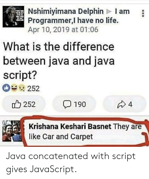 Java: Nshimiyimana Delphin Iam  Programmer,I have no life.  Apr 10, 2019 at 01:06  What is the difference  between java and java  script?  252  252  4  190  Krishana Keshari Basnet They  like Car and Carpet Java concatenated with script gives JavaScript.