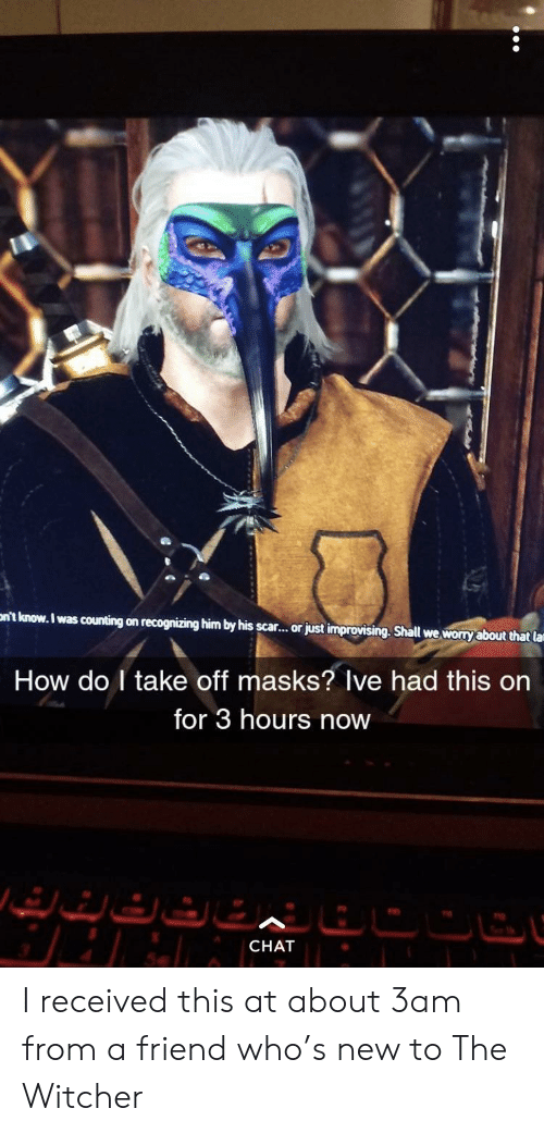 Shall We: nt know. I was counting on recognizing him by his scar..or just improvising. Shall we worry about that la  How do I take off masks? Ive had this on  for 3 hours now  CHAT I received this at about 3am from a friend who's new to The Witcher