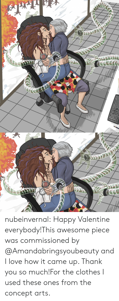 Happy Valentine: nubeinvernal:  Happy Valentine everybody!This awesome piece was commissioned by @Amandabringsyoubeauty and I love how it came up. Thank you so much!For the clothes I used these ones from the concept arts.