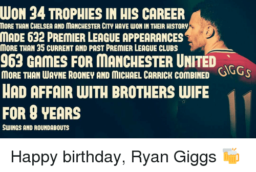 Giggly: NUON 34 TROPHIES IN HIS CAREER  MORE THAN CHELSEA AND MANCHESTER CITY HAVE WON IN THEIR HISTORY  MADE 632 PREMIER LEAGUE APPEARANCES  K  MORE THAN 35 CURRENT AND PAST PREMIER LEAGUE CLUBS  963 GAMES FOR MANCHESTER UNITED  MORE THAN WAYNE ROONEY AND MICHAEL CARRICK ComBINED  SuGS  HAD AFFAIR WITH BROTHERS WIFE  FOR YEARS  SWINGS AND ROUNDABOUTS Happy birthday, Ryan Giggs 🍻