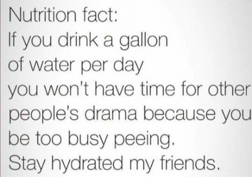 Dank, Friends, and Time: Nutrition  fact:  If you drink a gallorn  of water per day  you won't have time for other  people's drama because you  be  too busy peeing.  Stay hydrated my friends.