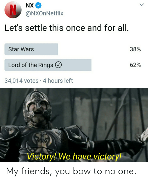 my friends you bow to no one: NX  N@NXOnNetflix  Let's settle this once and for all.  38%  Star Wars  Lord of the Rings  62%  34,014 votes 4 hours left  Victory! We have victory! My friends, you bow to no one.