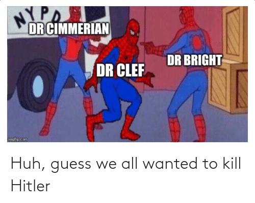Kill Hitler: NYPA  DR CIMMERIAN  DR BRIGHT  DR CLEF  imgflip.com Huh, guess we all wanted to kill Hitler