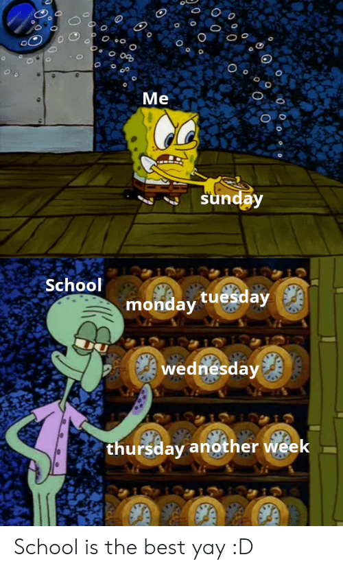 O Me Sunday School Monday Tuesday Wednesday Thursday Another Week O 0 O O School Is The Best Yay D School Meme On Awwmemes Com Thursday doesn't have a lot going for it except it's the gateway to the weekend. o me sunday school monday tuesday