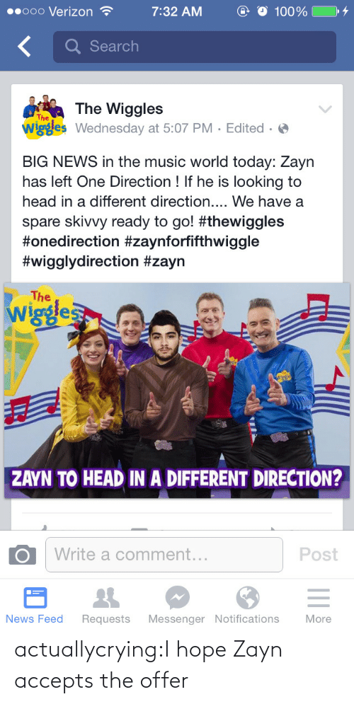 the wiggles: O 100%  00000 Verizon ?  7:32 AM  Q Search  The Wiggles  wiggles Wednesday at 5:07 PM · Edited · O  The  BIG NEWS in the music world today: Zayn  has left One Direction ! If he is looking to  head in a different direction.... We have a  spare skivvy ready to go! #thewiggles  #onedirection #zaynforfifthwiggle  #wigglydirection #zayn  The  Wiggles  ZAYN TO HEAD IN A DIFFERENT DIRECTION?  Write a comment...  Post  News Feed  More  Requests  Messenger Notifications actuallycrying:I hope Zayn accepts the offer