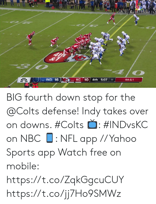 Indianapolis Colts: O 2  O PE  4t  O  КС 10  IND 16  4th 5:07  4th &1  :11  2-2  4-0 BIG fourth down stop for the @Colts defense!  Indy takes over on downs. #Colts  📺: #INDvsKC on NBC 📱: NFL app // Yahoo Sports app Watch free on mobile: https://t.co/ZqkGgcuCUY https://t.co/jj7Ho9SMWz