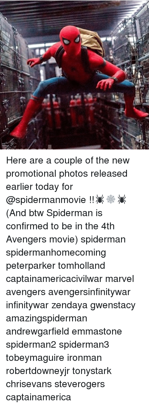 emmastone: :o  CT Here are a couple of the new promotional photos released earlier today for @spidermanmovie !!🕷🕸🕷 (And btw Spiderman is confirmed to be in the 4th Avengers movie) spiderman spidermanhomecoming peterparker tomholland captainamericacivilwar marvel avengers avengersinfinitywar infinitywar zendaya gwenstacy amazingspiderman andrewgarfield emmastone spiderman2 spiderman3 tobeymaguire ironman robertdowneyjr tonystark chrisevans steverogers captainamerica