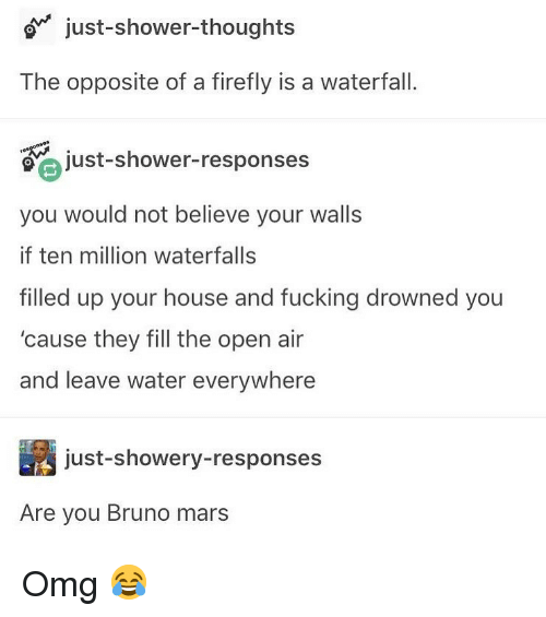 Bruno Mars: o just-shower-thoughts  The opposite of a firefly is a waterfall.  just-shower-responses  you would not believe your walls  if ten million waterfalls  filled up your house and fucking drowned you  'cause they fill the open air  and leave water everywhere  just-showery-responses  Are you Bruno mars Omg 😂