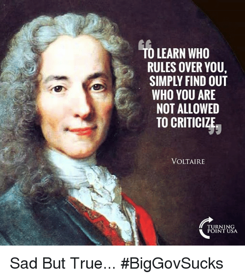 Memes, True, and Sad: O LEARN WHO  RULES OVER YOU,  SIMPLY FIND OUT  WHO YOU ARE  NOT ALLOWED  TO CRITICIZJ;  VOLTAIRE  TURNIN  POINT USA Sad But True... #BigGovSucks