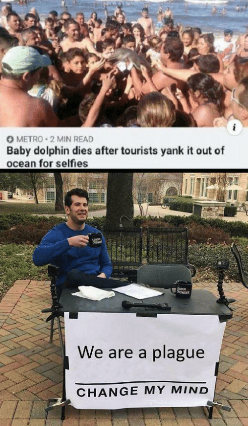 Dolphin, Metro, and Ocean: O METRO 2 MIN READ  Baby dolphin dies after tourists yank it out of  ocean for selfies  CRp  DuDER  owER  We are a plague  CHANGE MY MIND  38