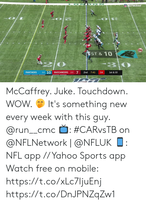 Memes, Nfl, and Run: O N D ON  NFLVETWORR  04  ST &10  3-2 10  7  PANTHERS  BUCCANEERS 2-3  2nd  7:41  04  1st & 10 McCaffrey.  Juke.  Touchdown.  WOW. 🤭  It's something new every week with this guy. @run__cmc  📺: #CARvsTB on @NFLNetwork | @NFLUK 📱: NFL app // Yahoo Sports app Watch free on mobile: https://t.co/xLc7ljuEnj https://t.co/DnJPNZqZw1