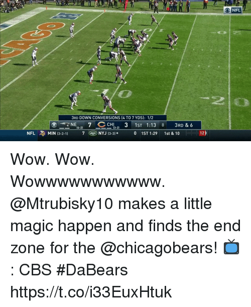 chicagobears: O NFL  20  3RD DOWN CONVERSIONS (4 TO 7 YDS]: 1/2  NE CH  1ST 1:13 8 3RD & 6  0 1ST 1:29 1st &10  (3-2)  NFL  申MIN 13-2-1)  7CDNYJ13-3).  12) Wow. Wow. Wowwwwwwwwwww.  @Mtrubisky10 makes a little magic happen and finds the end zone for the @chicagobears!  📺: CBS #DaBears https://t.co/i33EuxHtuk