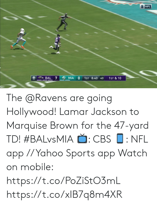 hollywood: O NFL  BAL 7  MIA  1ST 8:40 40  1ST & 10 The @Ravens are going Hollywood!  Lamar Jackson to Marquise Brown for the 47-yard TD! #BALvsMIA  📺: CBS 📱: NFL app // Yahoo Sports app  Watch on mobile: https://t.co/PoZiStO3mL https://t.co/xIB7q8m4XR