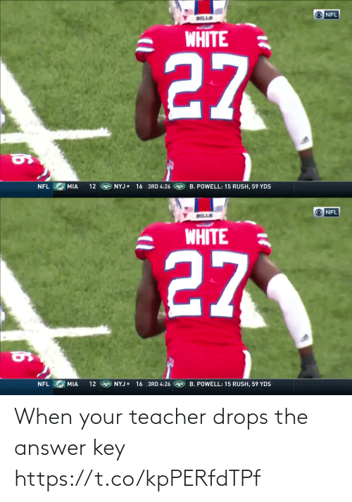 Drops: O NFL  DILLS  WHITE  27  12 E NYJ 16 3RD 4:26  NFL  MIA  B. POWELL: 15 RUSH, 59 YDS   O NFL  DILLE  WHITE  27  16 3RD 4:26  NYJ•  B. POWELL: 15 RUSH, 59 YDS  NFL  MIA  12 When your teacher drops the answer key  https://t.co/kpPERfdTPf