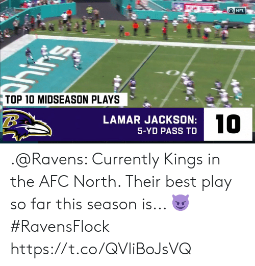 kings: O NFL  ins  TOP 10 MIDSEASON PLAYS  LAMAR JACKSON:  10  5-YD PASS TD .@Ravens: Currently Kings in the AFC North.   Their best play so far this season is... 😈   #RavensFlock https://t.co/QVliBoJsVQ
