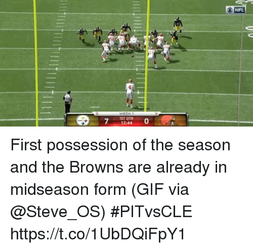 Otr: O NFL  IST OTR  12:44  0 First possession of the season and the Browns are already in midseason form  (GIF via @Steve_OS) #PITvsCLE https://t.co/1UbDQiFpY1