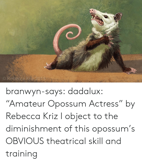 "Target, Tumblr, and Blog: O Rebecca Kriz 2015 branwyn-says: dadalux: ""Amateur Opossum Actress"" by Rebecca Kriz I object to the diminishment of this opossum's OBVIOUS theatrical skill and training"