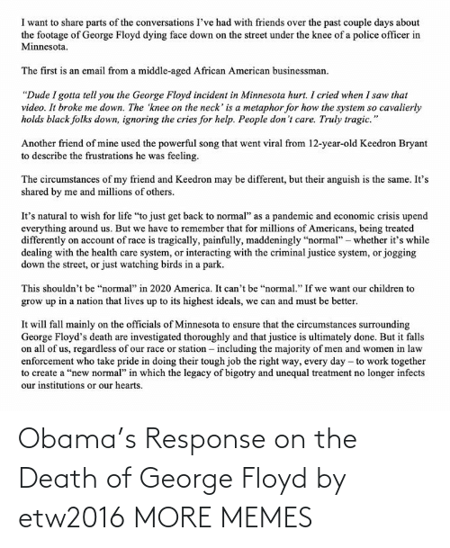 George: Obama's Response on the Death of George Floyd by etw2016 MORE MEMES