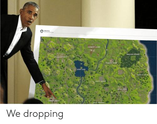 Salty Springs: OBAMA  FOUNDATION  ANARCHY ACRES  WAILING wooDs  LEASANT PARK  TOMATO TOW  OOT LAKE  ONELY LODGE  DUSTY DEPOT  RETAIL ROW  REASY GROVE  SALTY SPRINGS We dropping