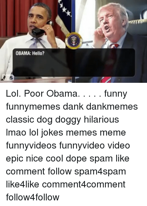 Obama Funny: OBAMA: Hello? Lol. Poor Obama. . . . . funny funnymemes dank dankmemes classic dog doggy hilarious lmao lol jokes memes meme funnyvideos funnyvideo video epic nice cool dope spam like comment follow spam4spam like4like comment4comment follow4follow