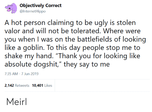 "Ugly, Thank You, and MeIRL: Objectively Correct  @InternetHippo  A hot person claiming to be ugly is stolen  valor and will not be tolerated. Where  you when I was on the battlefields of looking  like a goblin. To this day people stop me to  shake my hand. ""Thank you for looking like  absolute dogshit,"" they say to me  7:35 AM - 7 Jun 2019  2,142 Retweets 10,401 Likes Meirl"