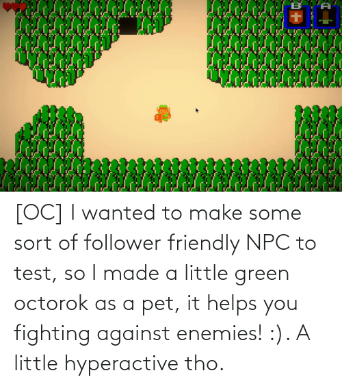 Helps: [OC] I wanted to make some sort of follower friendly NPC to test, so I made a little green octorok as a pet, it helps you fighting against enemies! :). A little hyperactive tho.
