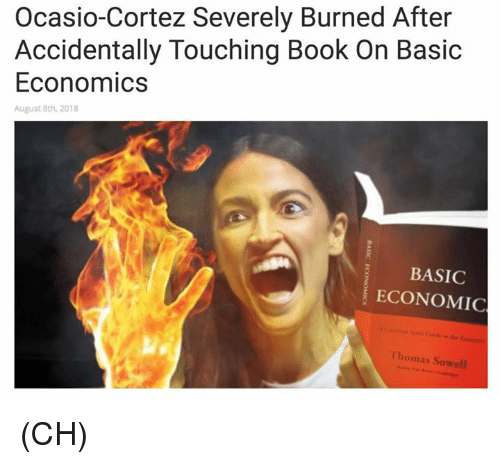 Memes, Book, and Thomas Sowell: Ocasio-Cortez Severely Burned After  Accidentally Touching Book On Basic  Economics  August 8th, 2018  BASIC  ECONOMIC  Thomas Sowell (CH)