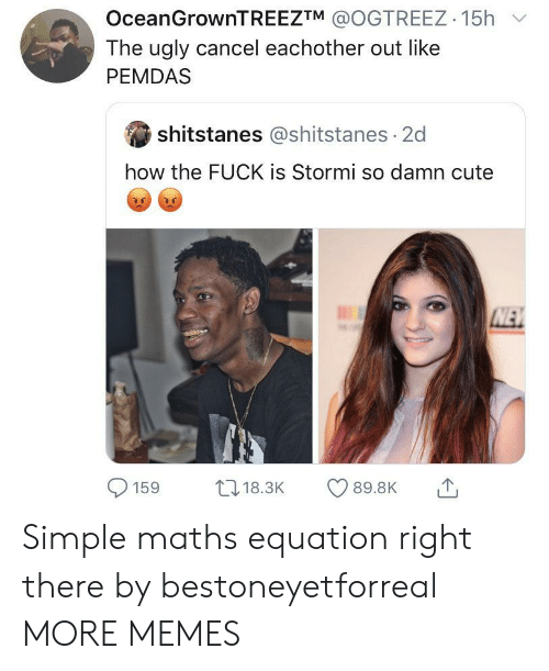 How The Fuck: OceanGrownTREEZTM @OGTREEZ 15h  The ugly cancel eachother out like  PEMDAS  shitstanes @shitstanes 2d  how the FUCK is Stormi so damn cute  NEW  L18.3K  89.8K  159 Simple maths equation right there by bestoneyetforreal MORE MEMES